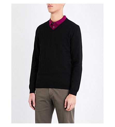 BOSS 修身版型棉毛衣 (黑色