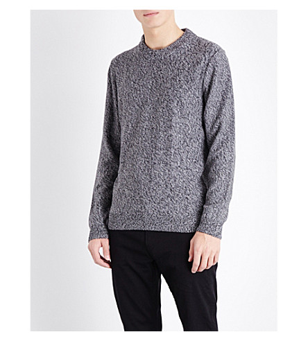 BOSS Slim-fit cotton knitted jumper (Medium+grey