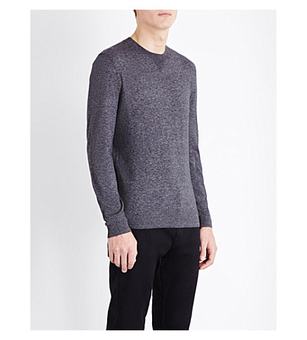 BOSS Slim-fit cotton knitted jumper (Black