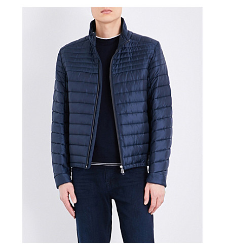 BOSS GREEN Zipper-up quilted jacket (Navy