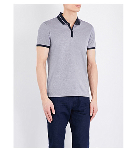 BOSS Slim-fit striped cotton-jersey polo shirt (Dark+blue