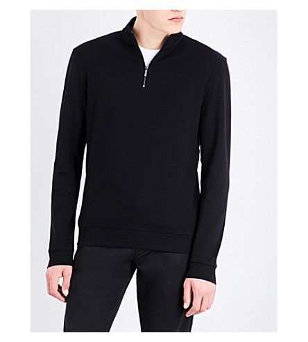 BOSS Zip-up cotton-jersey sweatshirt (Black
