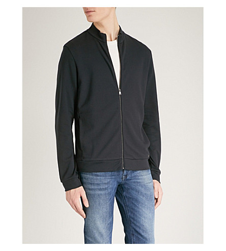 BOSS Textured cotton-jersey sweatshirt (Dark+blue