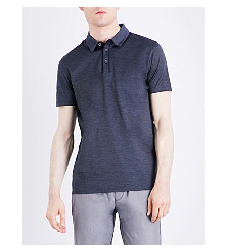 BOSS Slim-fit mercerised-cotton polo shirt (Dark+blue