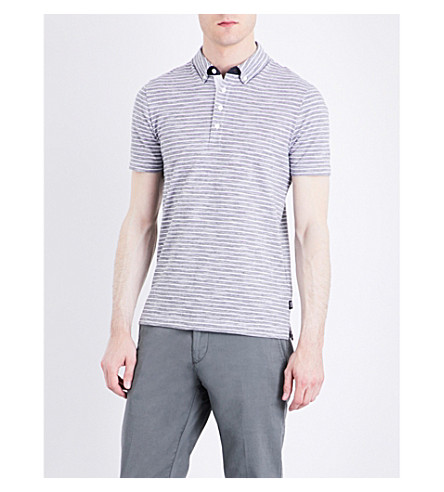 BOSS Slim-fit striped cotton-piqué polo shirt (Dark+blue