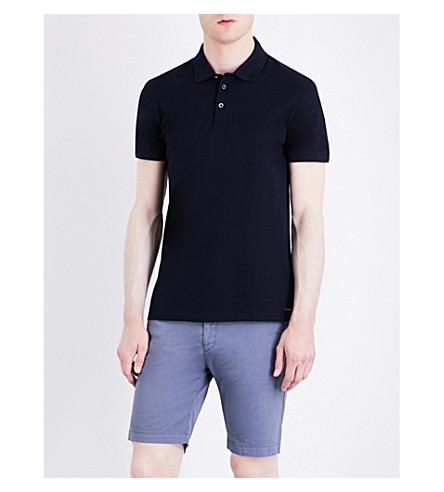 BOSS Slim-fit cotton-piqué polo shirt (Dark+blue