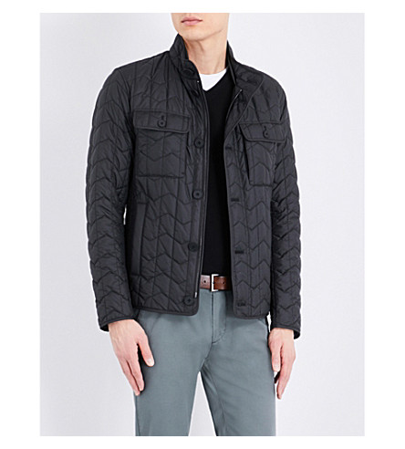 BOSS Zigzag quilted jacket (Black