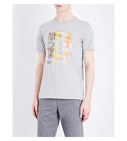 BOSS GREEN Graphic-print cotton-jersey T-shirt (Light/pastel+grey