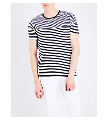 BOSS Striped cotton T-shirt (Dark+blue