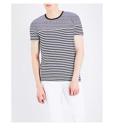 BOSS BLACK CASUAL Striped cotton T-shirt (Dark+blue