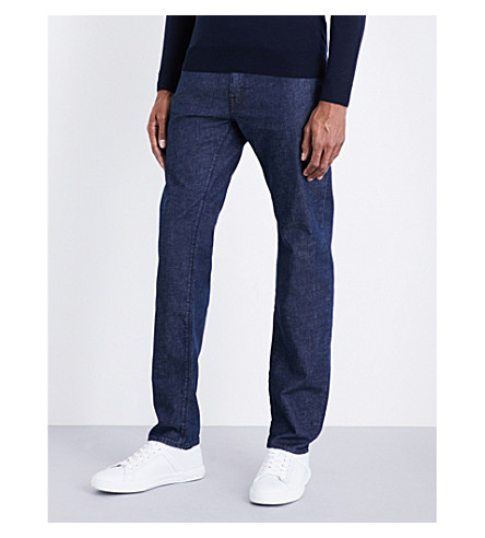 BOSS Regular-fit mid-rise jeans (Medium+blue