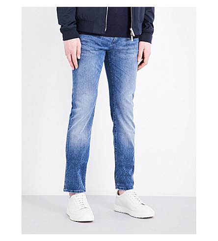 BOSS BLACK CASUAL Slim-fit tapered cotton-blend jeans (Bright+blue