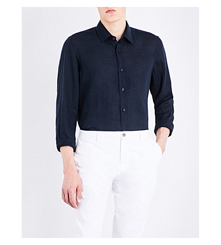 BOSS Regular-fit linen shirt (Dark+blue