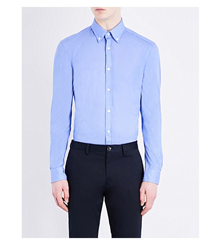 BOSS Button-down cotton-jersey shirt (Medium+blue