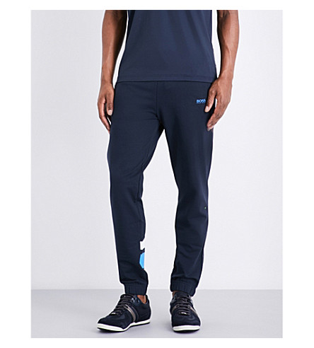 BOSS GREEN Slim-fit tapered cotton-blend track pants (Navy