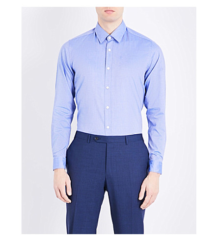 BOSS BLACK CASUAL Regular-fit cotton Oxford shirt (Medium+blue