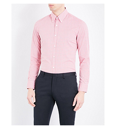 BOSS BLACK CASUAL Regular-fit checked cotton shirt (Medium+red