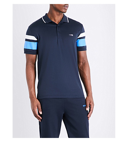 BOSS Striped slim-fit cotton-blend polo shirt (Navy