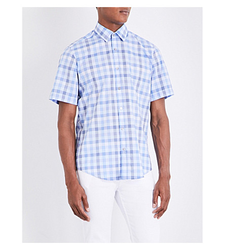 BOSS Checked regular-fit cotton shirt (Dark+blue