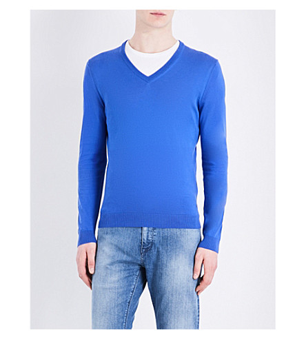 BOSS V-neck cotton jumper (Medium+blue