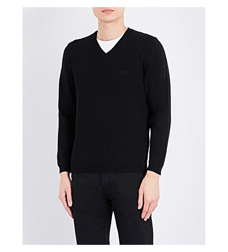 BOSS V-neck knitted jumper (Black