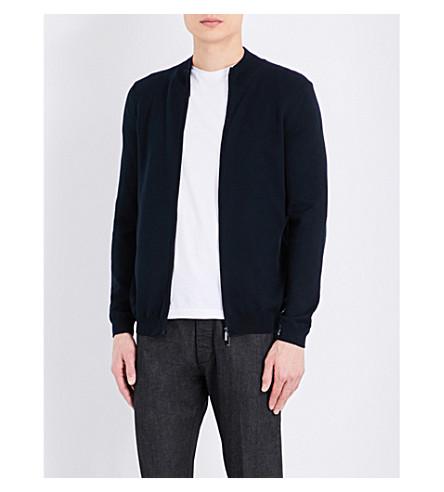 BOSS Zip-up knitted cardigan (Dark+blue
