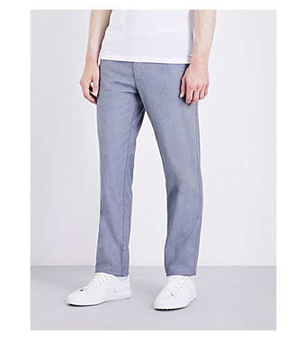 BOSS Regular-fit tapered stretch-cotton trousers (Medium+grey