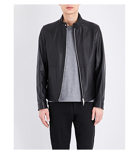 BOSS BLACK CASUAL Zip-up leather jacket (Black