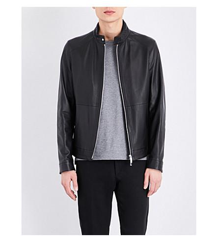 BOSS Zip-up leather jacket (Black