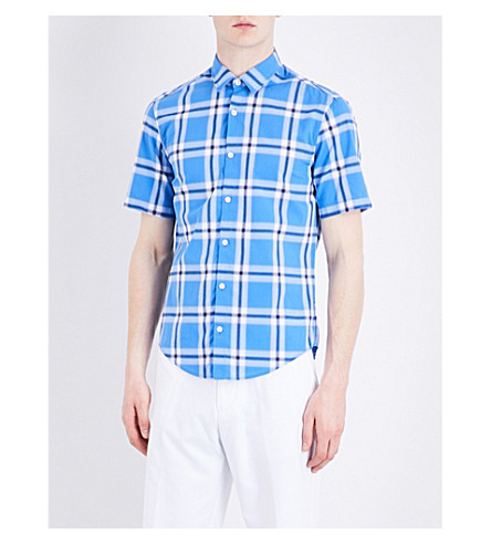 BOSS GREEN Checked short-sleeved cotton shirt (Medium+blue