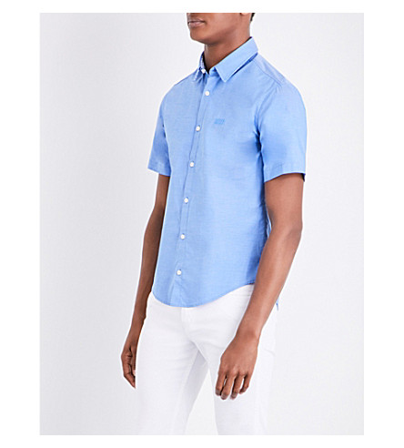 BOSS Regular-fit cotton-piqué shirt (Medium+blue