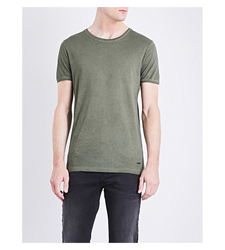 BOSS ORANGE Crewneck cotton-jersey T-shirt (Dark+green