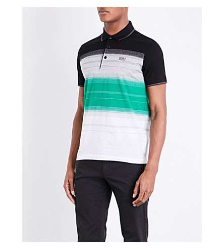 BOSS GREEN Slim-fit striped cotton polo shirt (Black