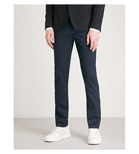 HUGO Slim-fit tapered cotton-twill trousers (Navy