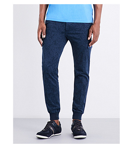 BOSS GREEN Abstract-print slim-fit tapered cotton-blend pants (Navy