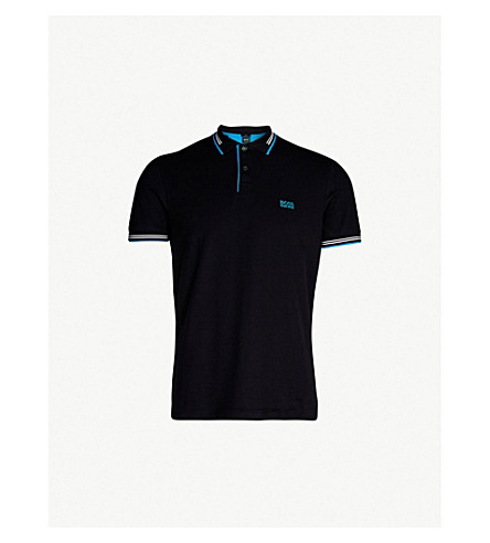 BOSS Tipped cotton-piqué polo shirt (Black