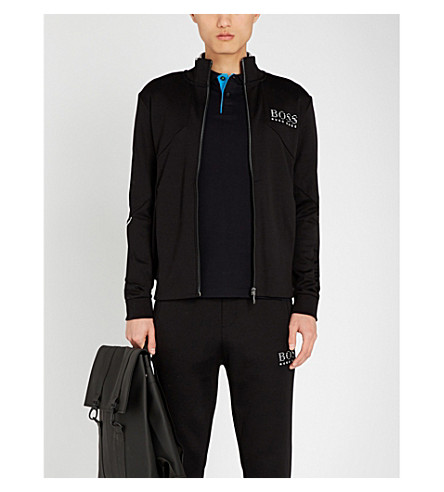 BOSS Tipped cotton-piqué polo shirt (Black