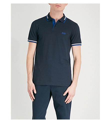 BOSS GREEN Tipped cotton-piqué polo shirt (Dark+blue