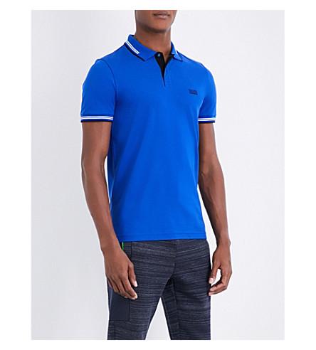 BOSS GREEN Tipped cotton-piqué polo shirt (Medium+blue