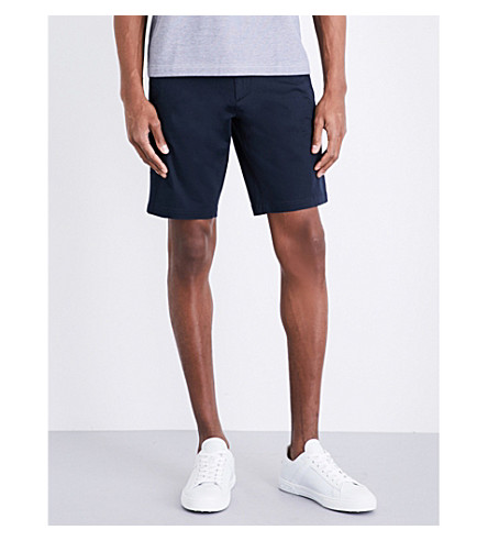 BOSS GREEN Slim-fit mid-rise poplin shorts (Navy
