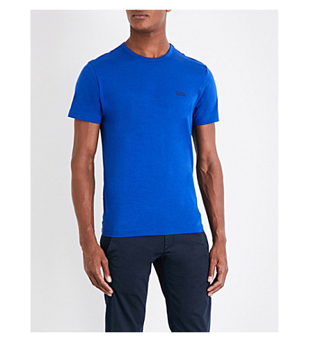 BOSS GREEN Crewneck cotton-jersey T-shirt (Medium+blue