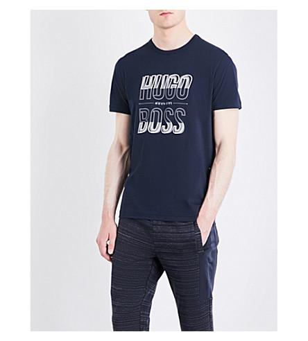 BOSS Logo-print cotton-jersey T-shirt (Navy