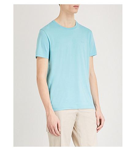 BOSS Logo-detail cotton-jersey T-shirt (Light/pastel+blue