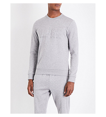 BOSS Logo-embossed cotton-blend sweatshirt (Light/pastel+grey