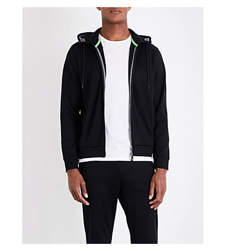 BOSS GREEN Ribbed-panel jersey hoody (Black