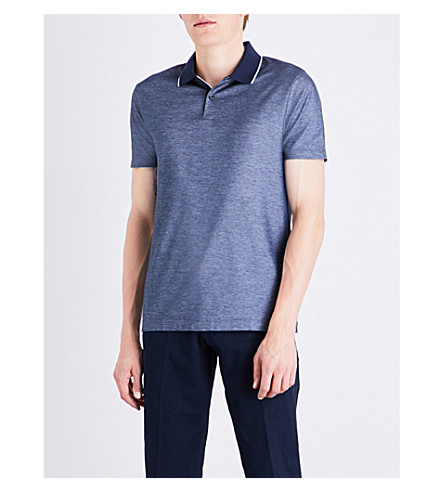 BOSS Geometric-patterned cotton-piqué polo shirt (Navy