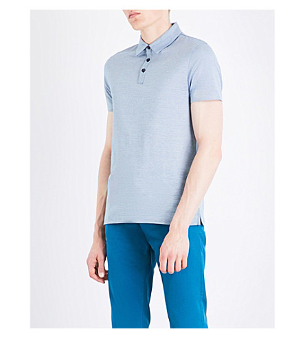 BOSS Striped cotton polo shirt (Turquoise/aqua