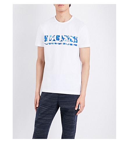 BOSS Logo-print stretch-cotton T-shirt (White