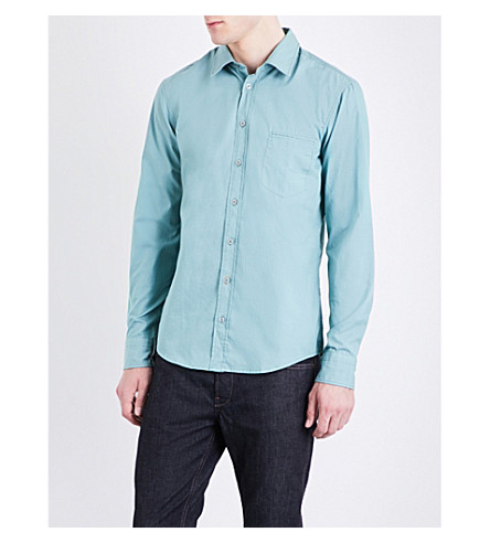 BOSS ORANGE Regular-fit cotton shirt (Turquoise/aqua