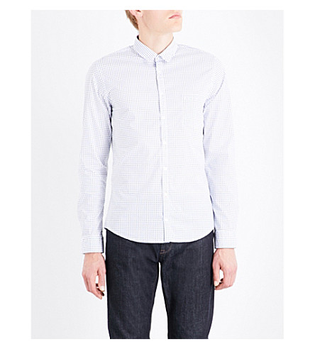 BOSS Geometric-pattern slim-fit stretch-cotton shirt (White